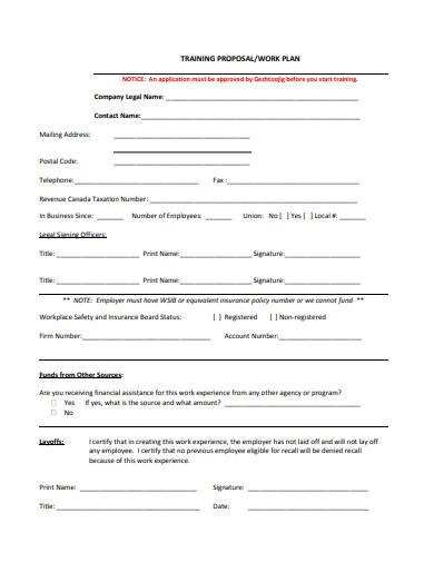 training proposal work plan template