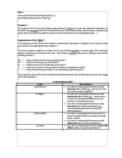 training task analysis report