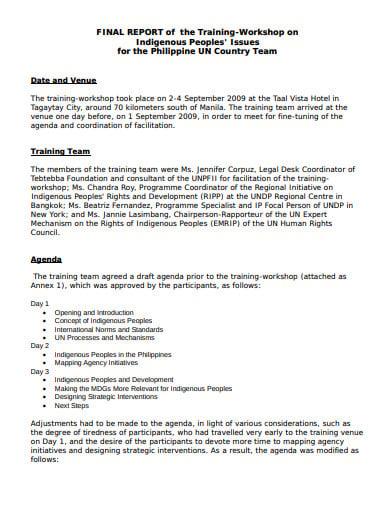 training workshop final report
