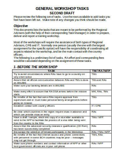 training workshop report example