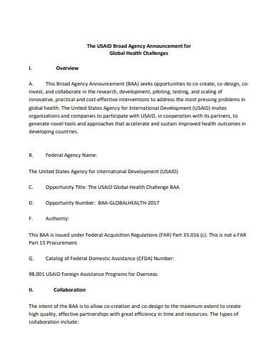usaid broad agency announcement template