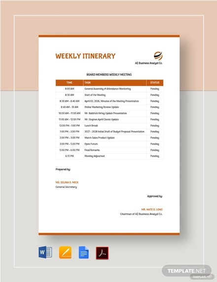 weekly itinerary template