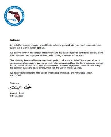 welcome letter example