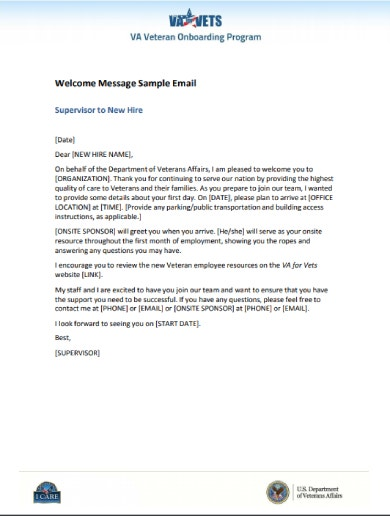 welcome message sample email