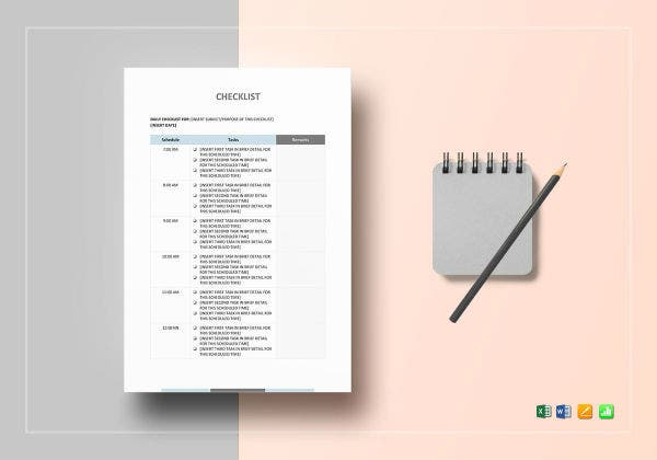 checklist sample mockup