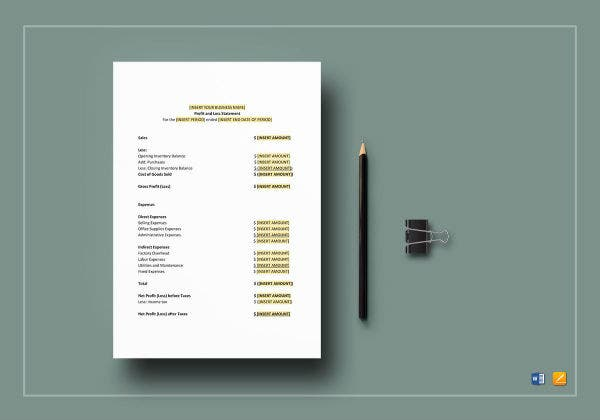 profit and loss statement mockup