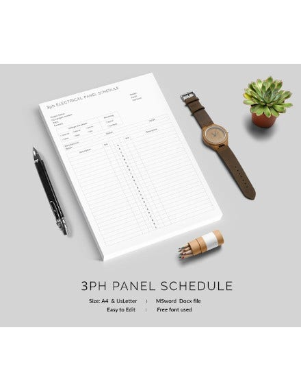 3ph electrical panel schedule template
