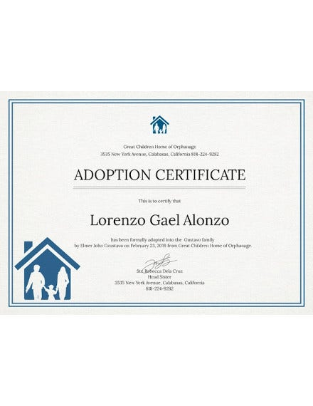 adoption certificate template to print