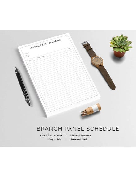 branch panel schedule template