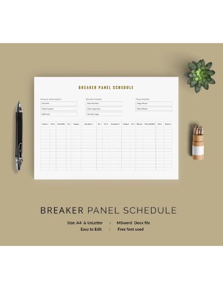 breaker panel schedule template