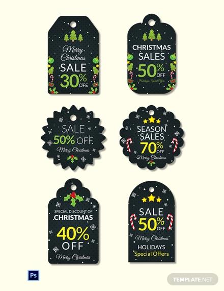 christmas sale tag template