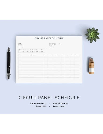 circuit panel schedule template