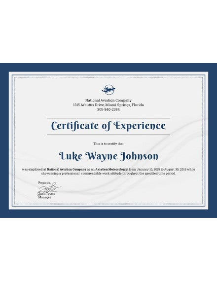 company experience certificate template in ipages