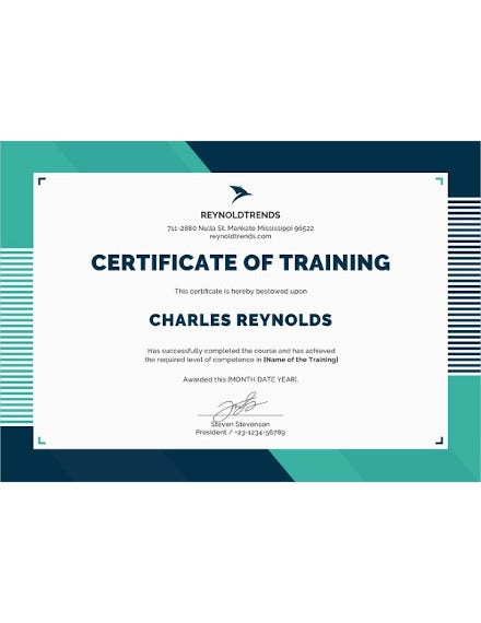 company training certificate word template