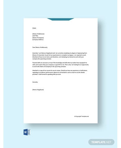 cover letter for internship engineering