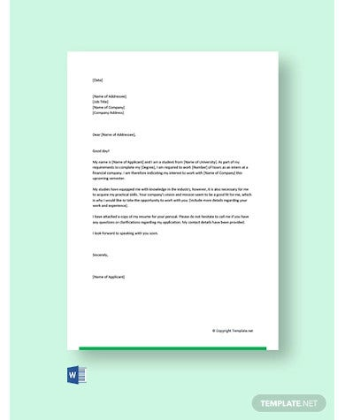 cover letter for internship in finance