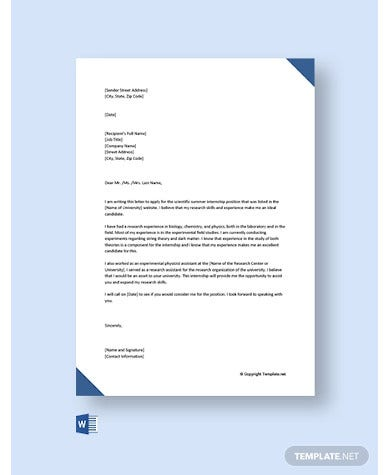 cover letter for internship with no experience