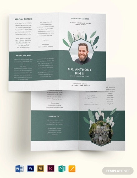 father or dad funeral obituary bi fold brochure template