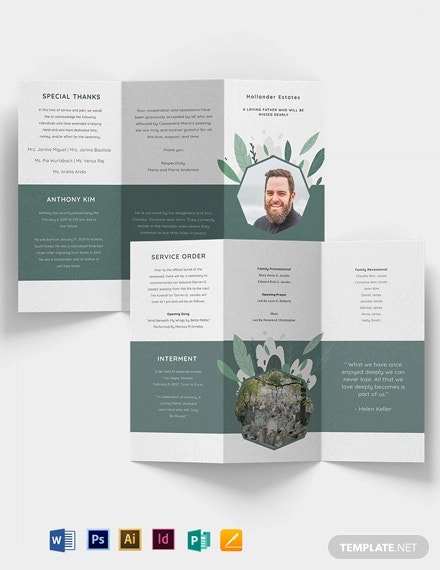father or dad funeral obituary tri fold brochure template