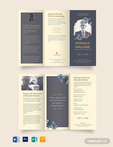 father or dad funeral program tri fold brochure template