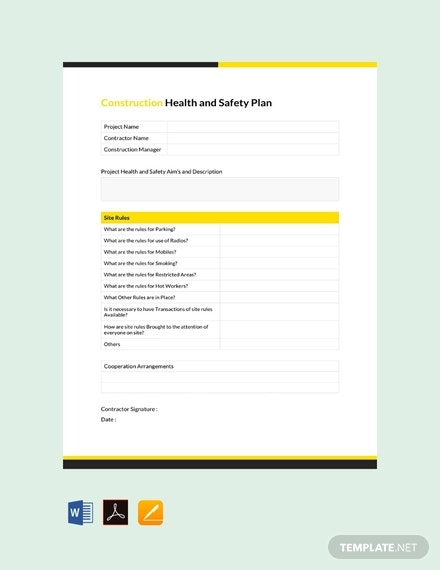Construction Safety Plan Template 22 Free Word Pdf Documents Download Free Premium Templates