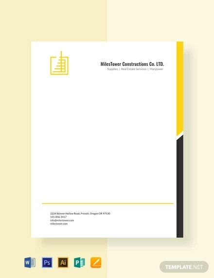 free construction letterhead template