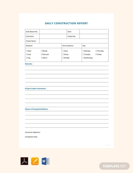 free daily construction report sample template