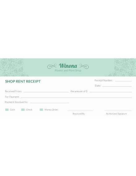 free shop rent receipt template