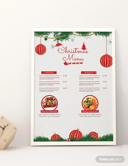 free snowflakes christmas menu template