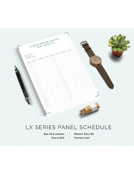 lx series panel schedule template