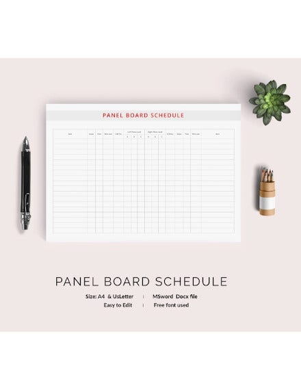 panel board schedule template download