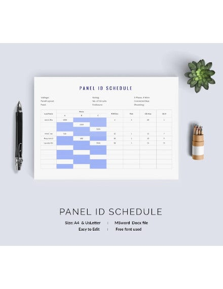 panel id schedule template