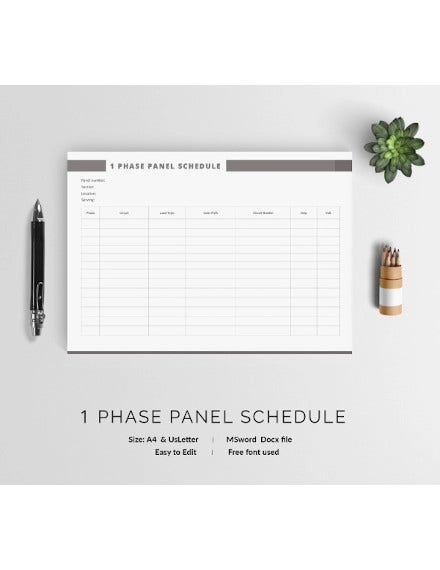 phase 1 panel schedule template