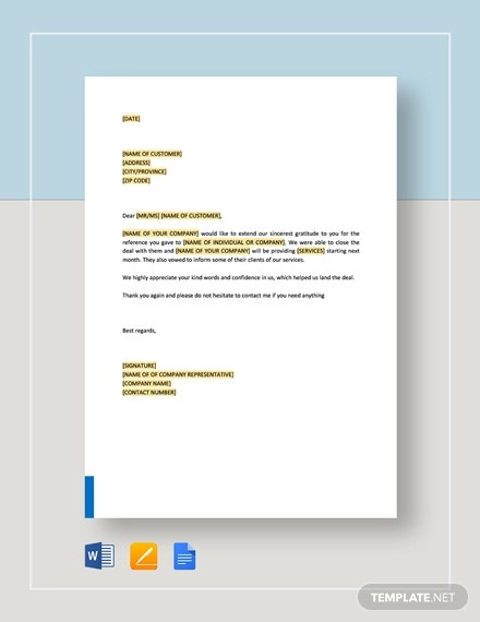 reference thank you letter template