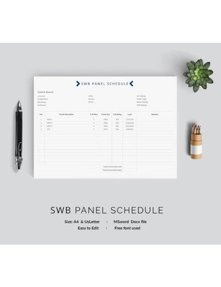swb panel schedule template