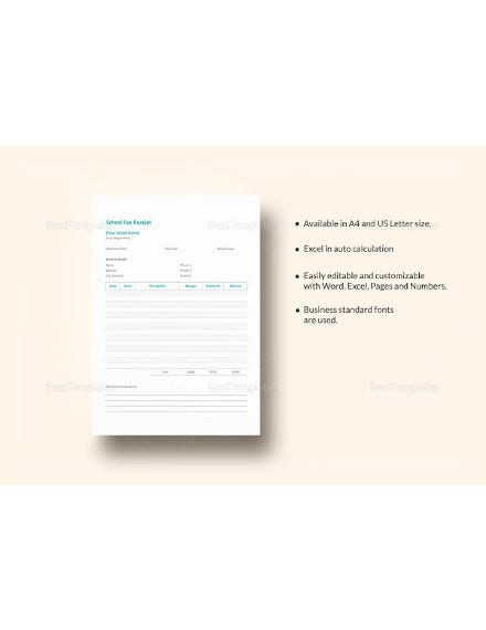 school fee receipt excel template