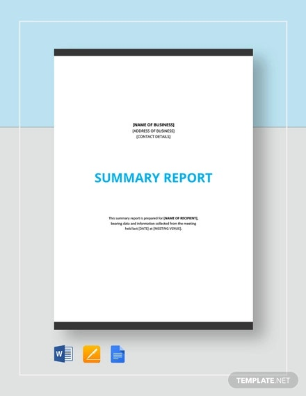summary report template