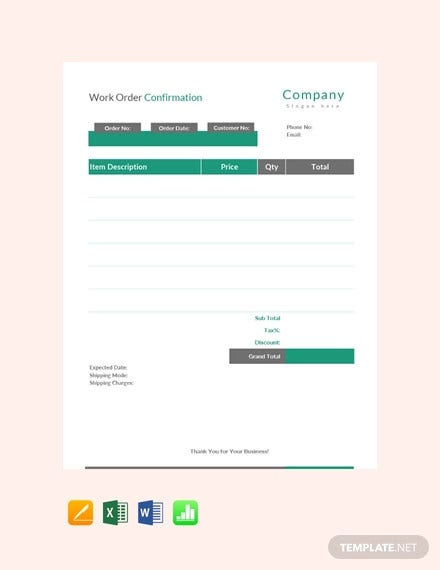 work order confirmation template