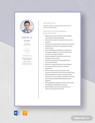 campus recruiter resume template