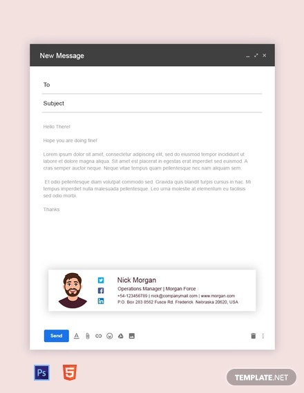 free operation manager email signature