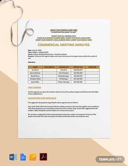 commercial construction meeting minutes template1