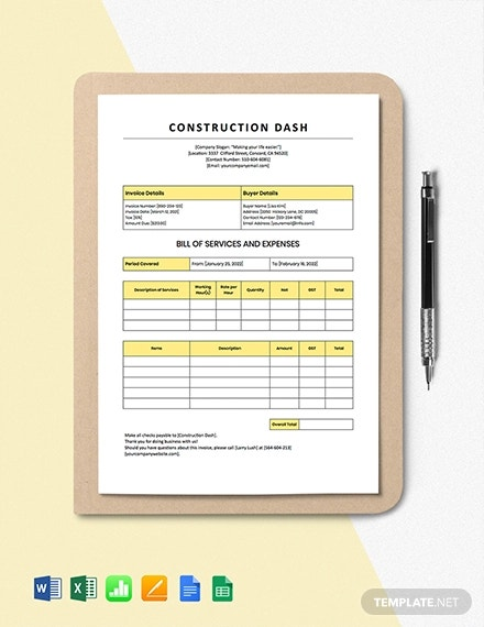 construction billing invoice template