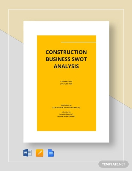 construction business swot analysis template