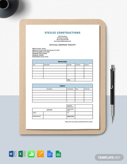 construction company receipt template