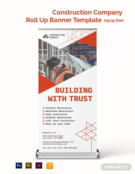construction company roll up banner template