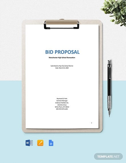 construction project bid proposal template