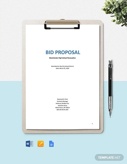 construction project bid proposal template2