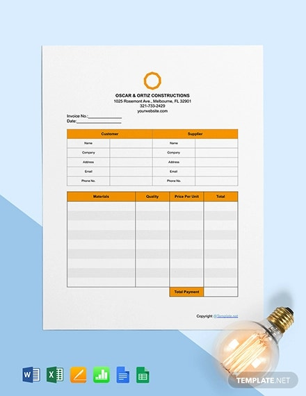 free basic construction invoice template1