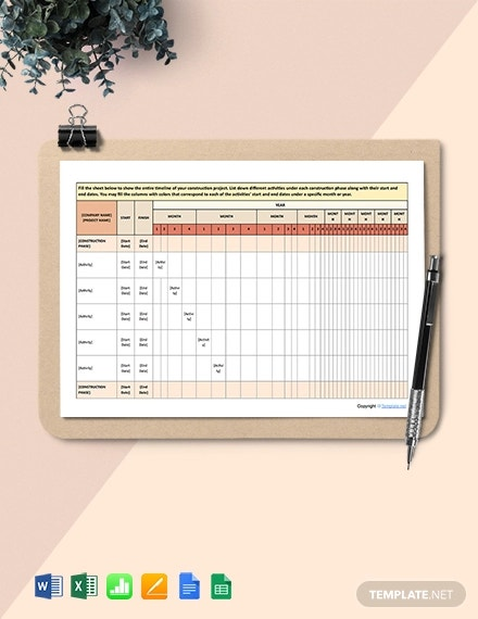free basic construction schedule template