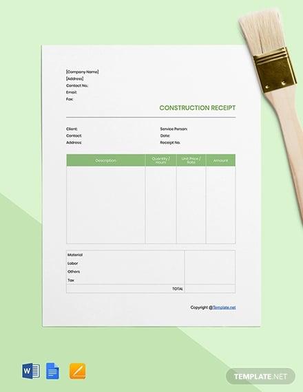 free blank construction receipt template